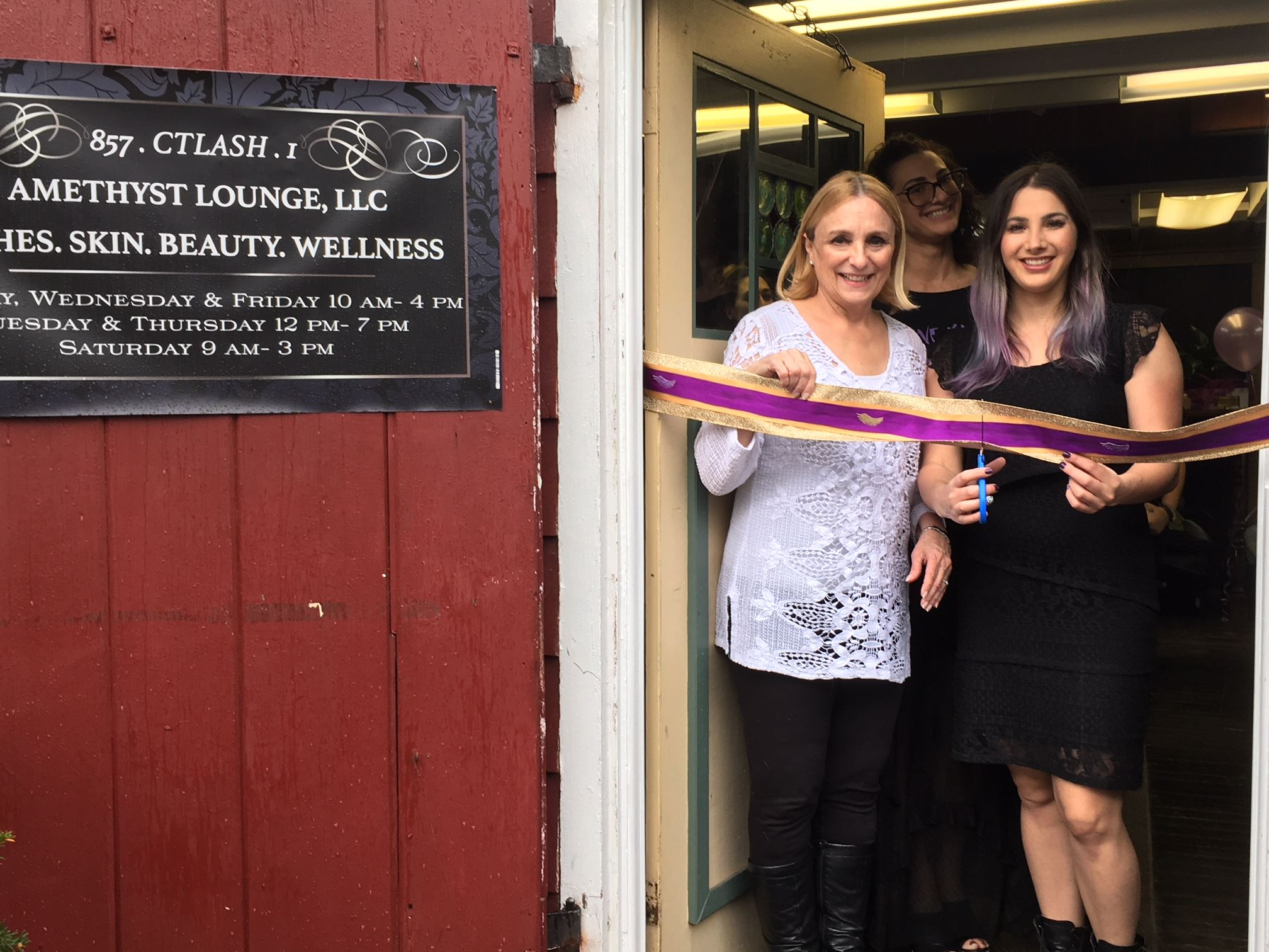 Beth Heller at Amethyst Lounge ribbon cutting